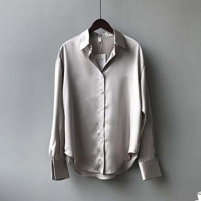Autumn Fashion Button Up Satin Silk Shirt Vintage Blouse Women White Lady Long Sleeves Female Loose Street Shirts 11355 5