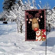 New-Home Garden Candy Cane Reindeer Decorative Winter Christmas Holiday Ornament Garden Flag