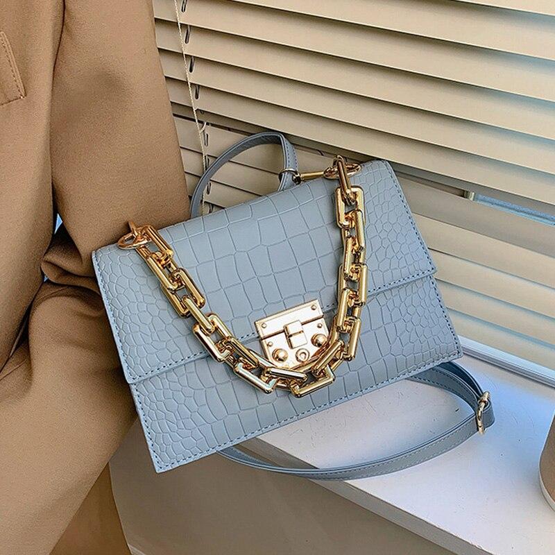 Luxus Dicke Kette Handtaschen PU Leder Klappe Schulter Taschen für Frauen 2021 Marke Trend Damen Umhängetaschen Stein Muster Geldbörsen