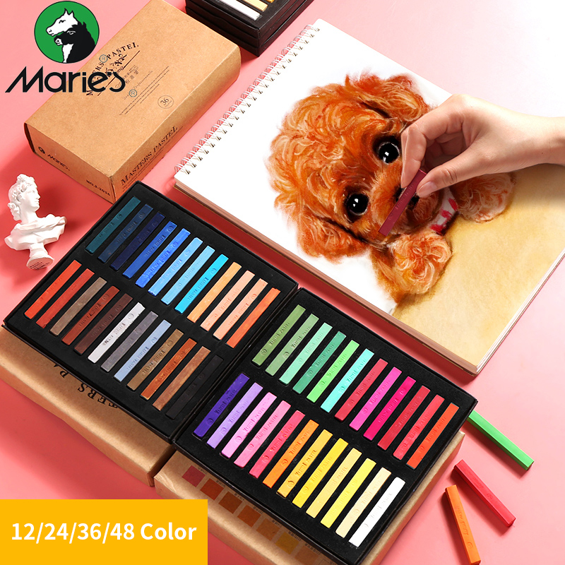 Marie's 12/24/36/48 Colors  Painting Crayons Soft Pastel Art Drawing Set Chalk Color Crayon Brush For Stationery Art Supplies