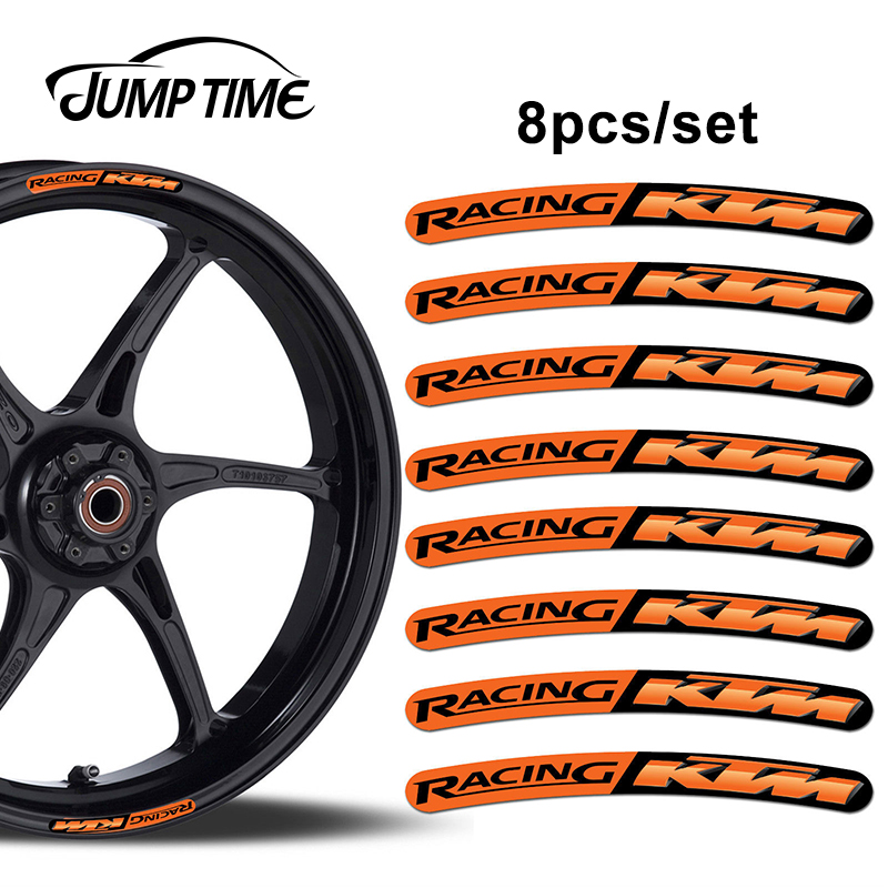 Jump Time 13cm X 1.3cm 8Pcs For KTM Racing Rim Edge Stickers Wheel Stripes Set Car Bicycle Motorcycle Moto Decal Car Styling