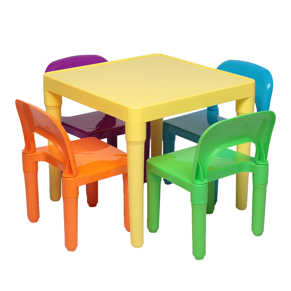 2020 Plastic Children Table And Chair Set One Desk And Four Chairs Furniture Sets Kids Chair And Study Table Sets Dinner Toys