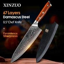 Xinzuo facas de chef de 8.5 pol. vg10 de alto carbono, facas de cozinha japonesas de 67 camadas de damasco, de aço inoxidável, gyuto, cabo de madeira jacarandá