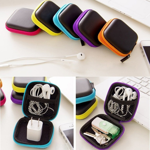 1 Pcs Headphone Wire Organizer Box Data Line Charge cable Storage Case Earphone Container Protect  Multifunction Storage Box|Storage Boxes & Bins| |  - title=