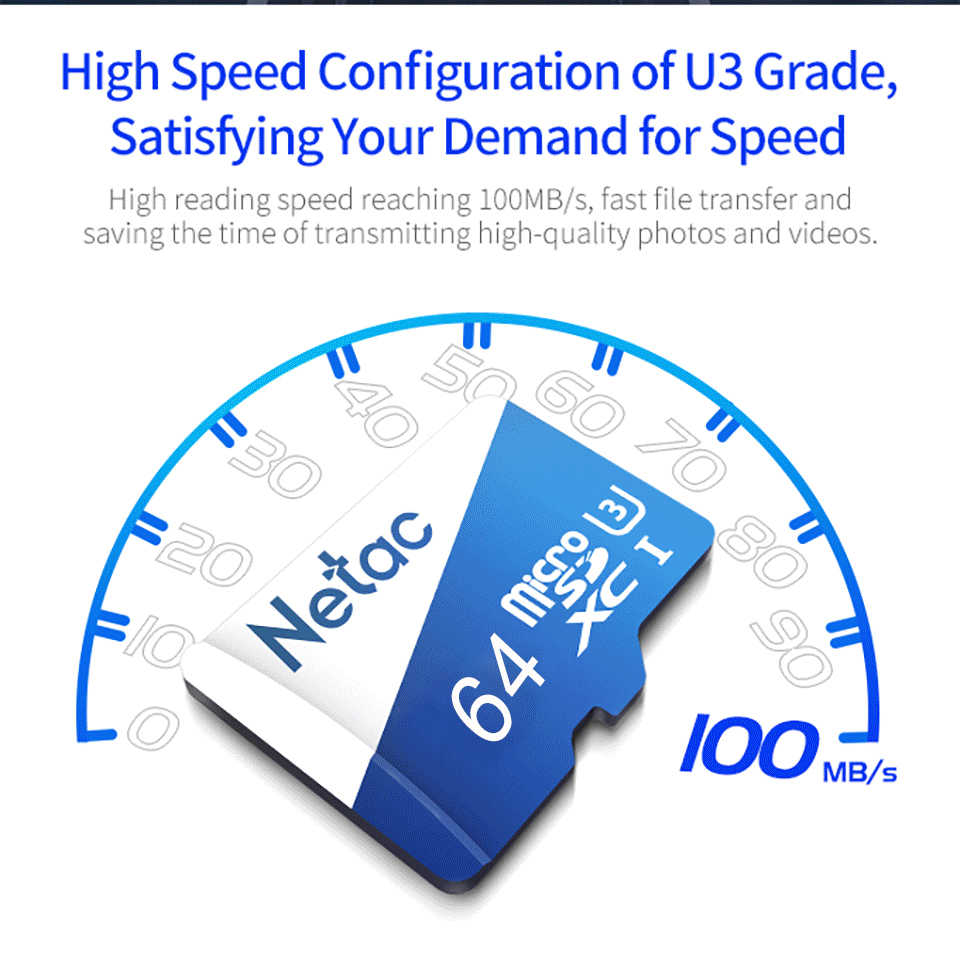 Netac 32 GB 64 GB 128 GB de Cartão Micro SD 256 GB Cartão de Memória GB 32 16 UHS-1 64 128 256 GB 4 K Vídeo U3 V30 Flash SDCard Classe 10 Cartão TF