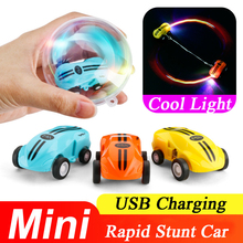 High Speed Mini Racing Car Toys Colorful LED Light Stunt Cars Pocket Racer Rechargeable 360 Degrees Rotating for Kids
