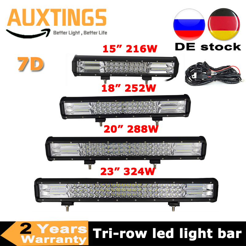 3-Rows 15'' 18'' 20'' 23'' 216w 252w 288w 324w LED Work Light Bar 7D Offroad Combo 12v 24v For Car Tractor Truck SUV ATV Boat