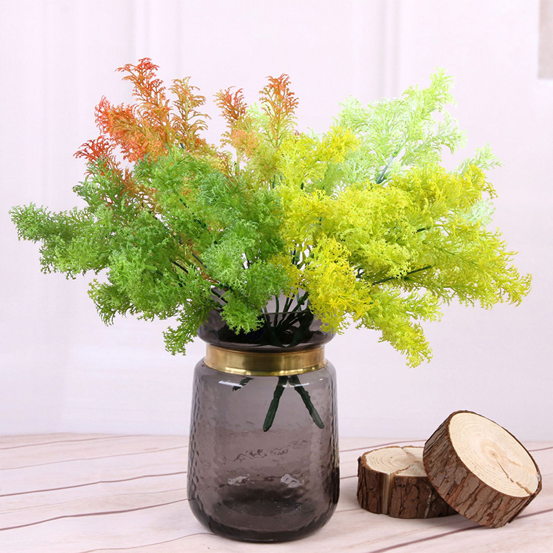 7 Branches Green Artificial Plants For Garden Bushes Fake Grass Eucalyptus Orange Leaves Faux Plant For Home Shop Decoration New-2