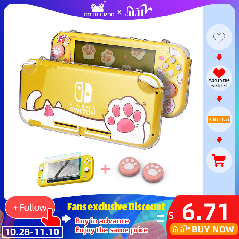 DATA FROG Transparent Hard Protective Case For Nintendo Switch Lite Console Cat Paw Style Protection Cover for NS Switch Lite