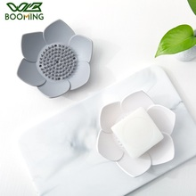 WBBOOMING Food Grade Silicone Soap Storage Shelves Bathroom Shower Lotus Shape Soap Drain Holder Portable Flower Soapbox