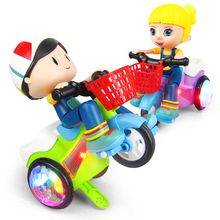 Childrens electric stunt tricycle Music colorful lights erect 360 degree rotating light childrens toys gifts
