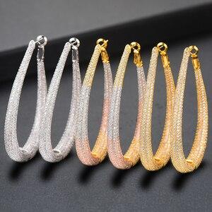 Image 1 - GODKI Brand 2019 Luxury Cubic Zircon Round Circle Big Hoop Earrings For Women Charms Wedding DUBAI Bridal Statement Earrings