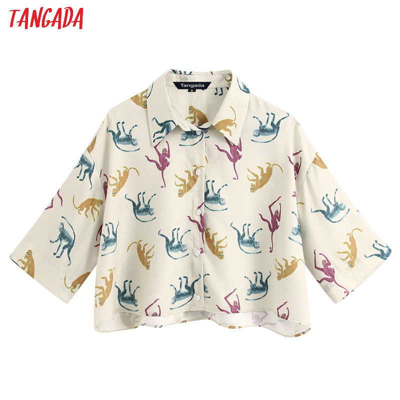 Tangada Women Retro Oversized Animal Print Crop Blouse Summer Short Sleeve Chic Female Casual Loose Shirt BE222