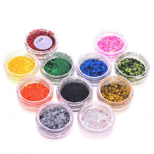 12 Colors Mixed Nail Art Glitter Sequins Powder 3D Laser Gradient Shinning Diy Charm Manicure Dust For Decor