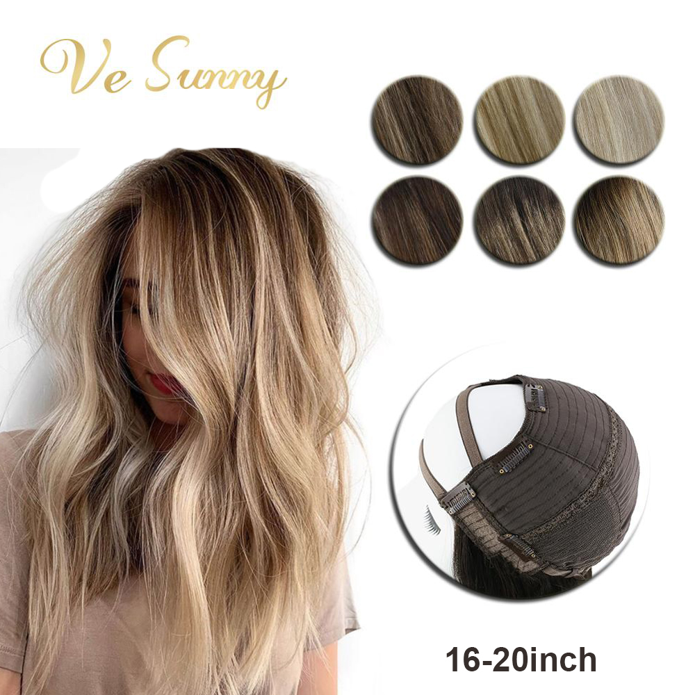 VeSunny U Part Half Wig Real Human Hair With Clips On No Lace Balayage Color Ombre Highlights Medium Length Hair 16-20 Inches
