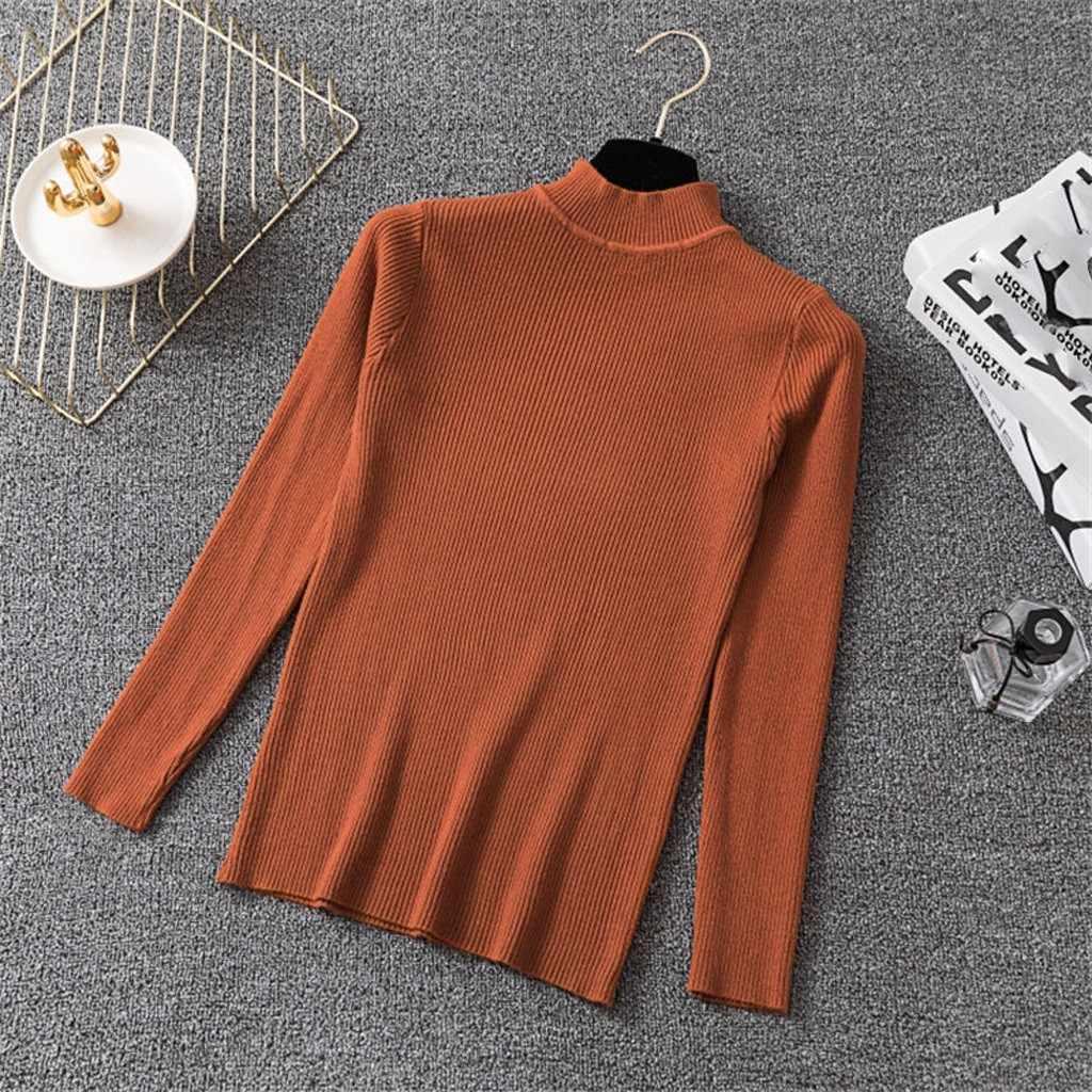 Elegancka moda dzianiny stałe bluzka Casual odzież zimowa Slim Fit podstawowe topy kobiet kobiet z długim rękawem koszula Blusa sweter