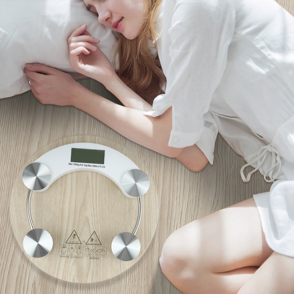 Precision Body Weight Scale Round Glass Digital Electronic Scale Bathroom 150kg title=