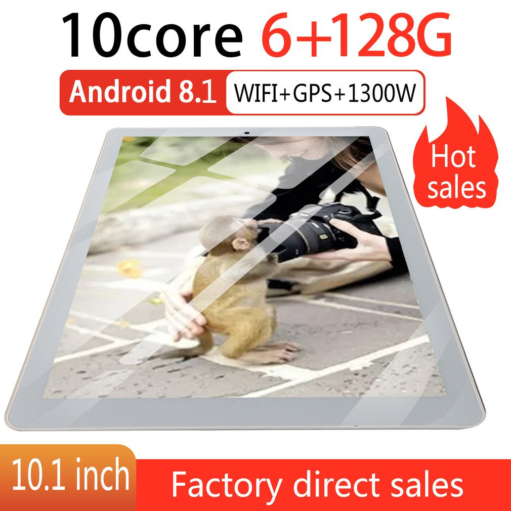 P10 Fashion Tablet 10.1 Inch HD Large Screen Android 8.10 Version Fashion Portable Tablet 6G+128G Gold Tablet Gold EU Plug