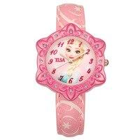 Disney Frozen Pricess Quartz Girl Wristwatch Princess Elsa 3Bar Waterproof Simple Fashion Round Leather Strap children watch