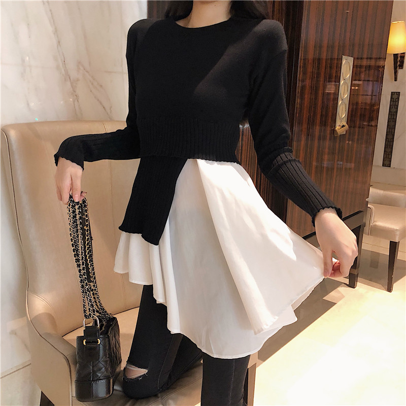 Fashion Women New Spring Patchwork Ruffled Sweater Irregular Black White Knitted Pullovers Slim Tops Stitching Bottoming Shirts