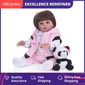 Npk 48Cm Full Body Silicone Doll Baby Straight Curly Hair Realistic Reborn Toddler Doll Baby Bath Toy For Children(China)