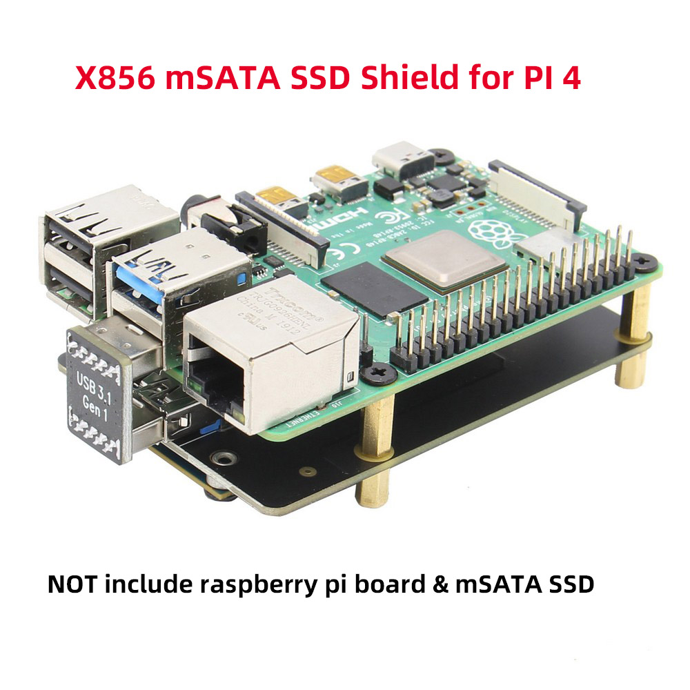 Raspberry Pi 4 Model B mSATA SSD Storage Expansion Board, X856 V1.0 USB3.1 Shield  title=