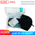 200 Pieces Black KN95 Mascarillas CE FFP2 Mask KN95 Masks Face 5 Layers Filter Protective Breathable 95% Against PM2.5 Dust