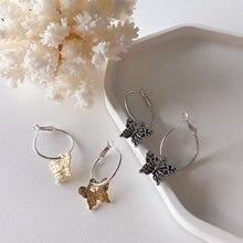Женские серьги кольца с бабочками простые металлические массивные
