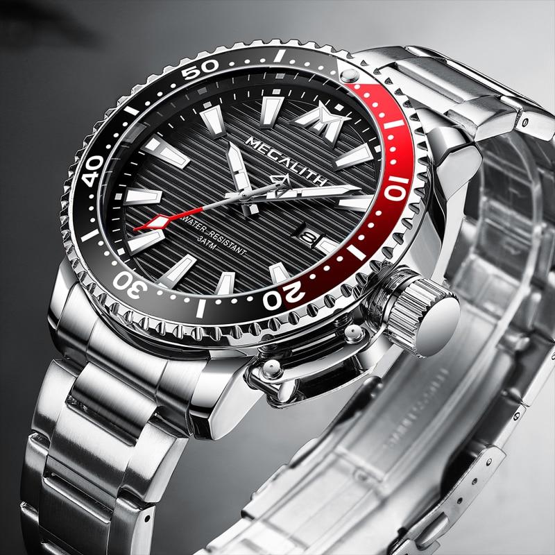 MEGALITH Sport Waterproof Quartz Watches Men Luminous Wrist Watch Men Full Steel Military Diving Calendar Clock With Box Package