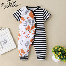 ZAFILLE Summer Short Sleeve Baby Boy Clothes Cotton Baby Romper Fox Print Patchwork Newborn Baby Girl Clothes Kids Infant Romper