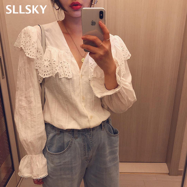 SLLSKY 2020 Spring Lady's Lace Patchwork Sweet White Blouse Women Blouses Long Sleeve Elegant Top Women's top Casual Shirts 1