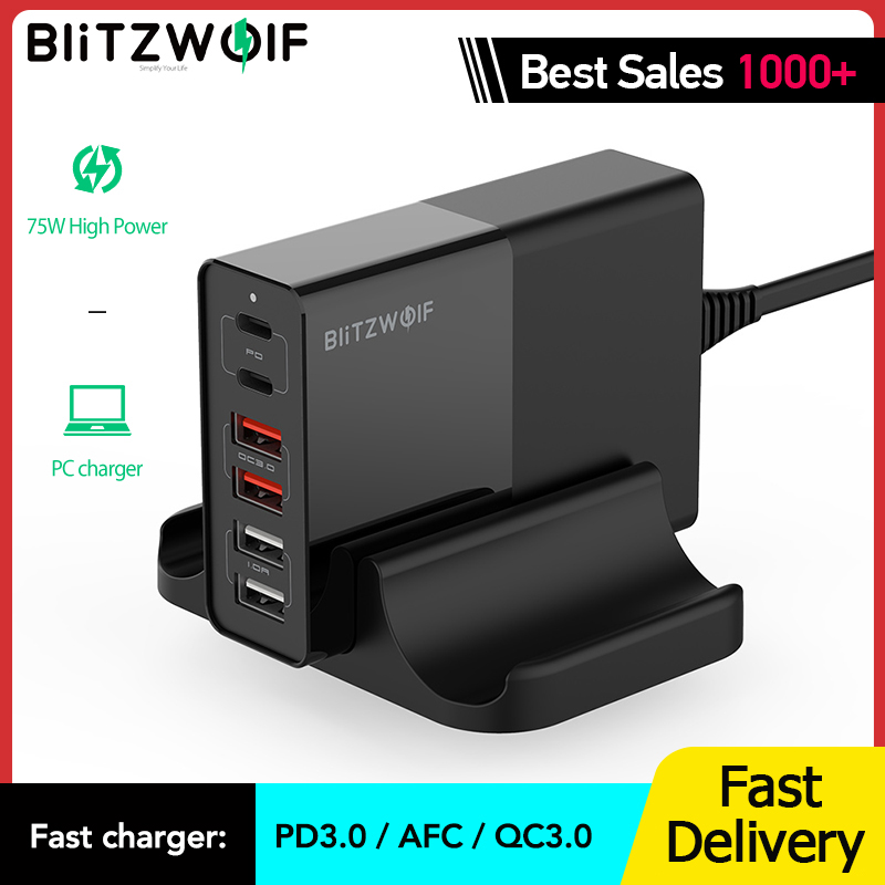 BlitzWolf BW S16 75W Dual 6 Port USB PD QC 3.0 Phone Charger Type C Chargers Accessorie Fast Charging for iPhone 12 Mini Pro Max|Mobile Phone Chargers| - AliExpress