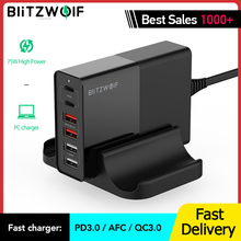 BlitzWolf BW-S16 75W Dual 6 Port PD QC 3.0 Phone USB Charger Type C Chargers Mobile Fast Charge for iPhone 12 Pro Max for Xiaomi