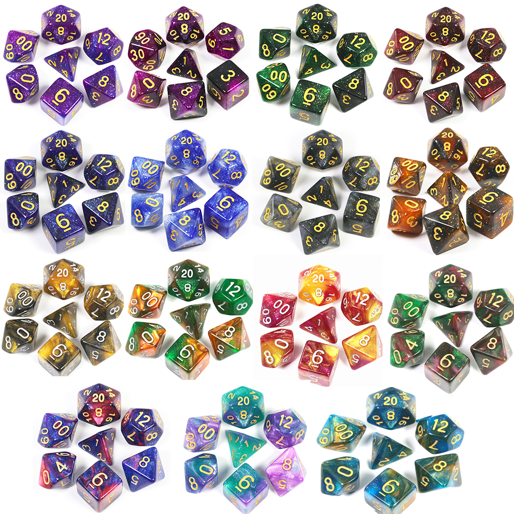 T&G Creative Universe Galaxy Dice Set Of D4-D20 With Mysterious Royal Blue Mix Black,Glitter Powder ForTRPG,DND Board Game