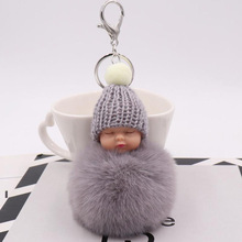 20pcs/lot Party Favors Cute Sleeping Baby Fluffy Balls Keychains Personalized Present Festival Supplies For Wedding Souvenir