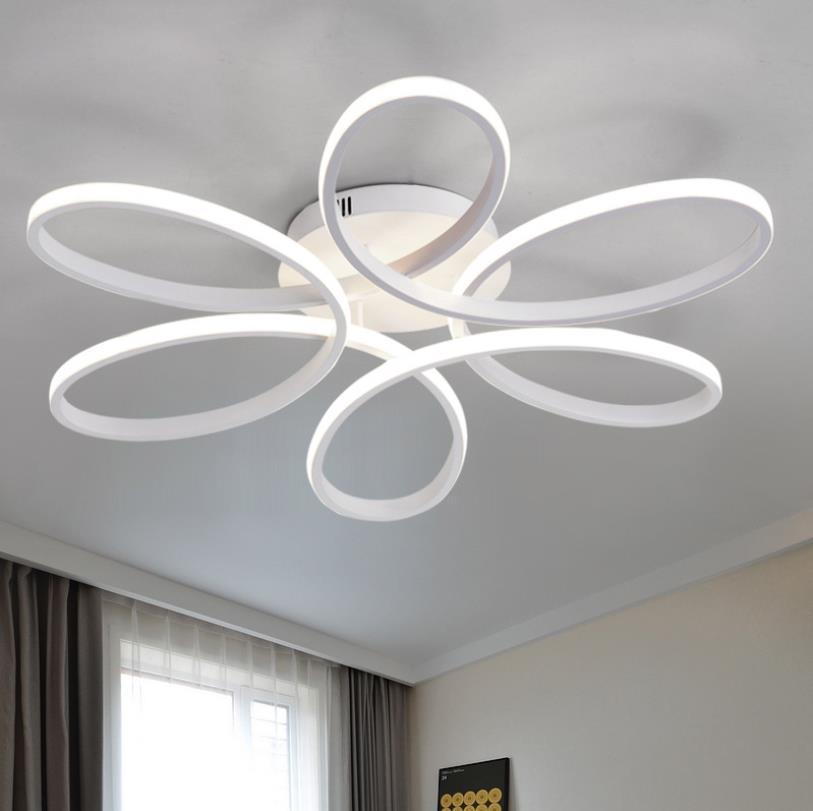 Luces de techo LED modernas para sala de estar dormitorio AC85 265V color blanco/Negro control remoto iluminación interior lámpara de techo - 5