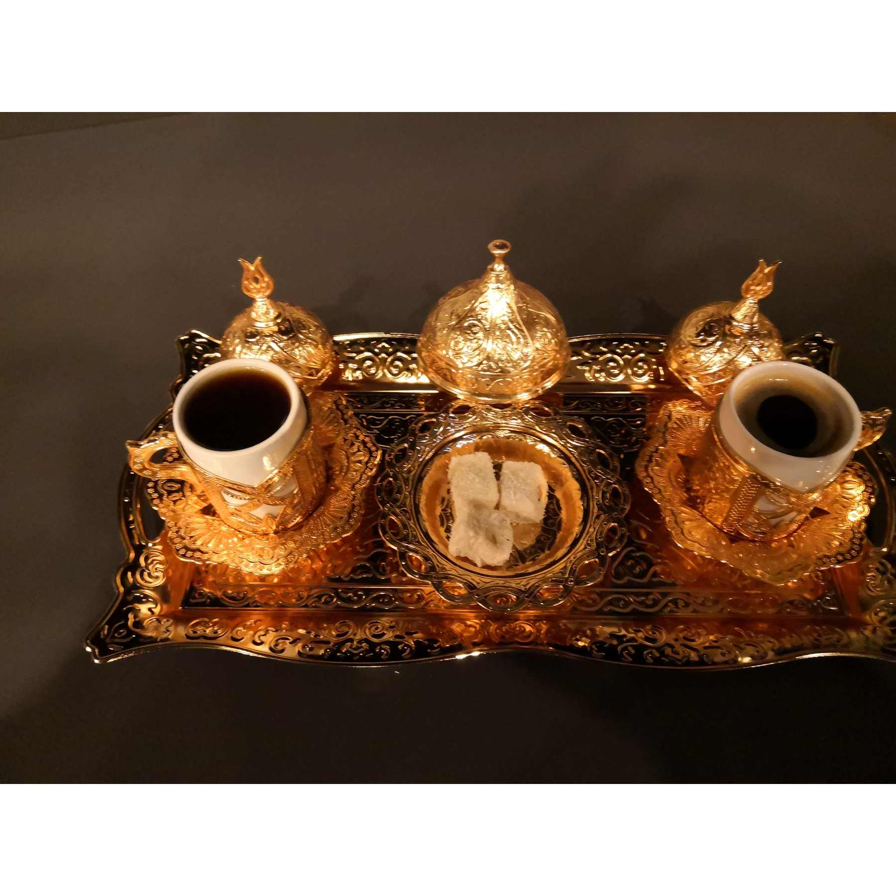 (9 PCS) Copper Turkish Tea Coffee Espresso Cups Set Anatolian Arabic Coffee Cups Set Ottoman Tea Sets MADE IN TURKEY
