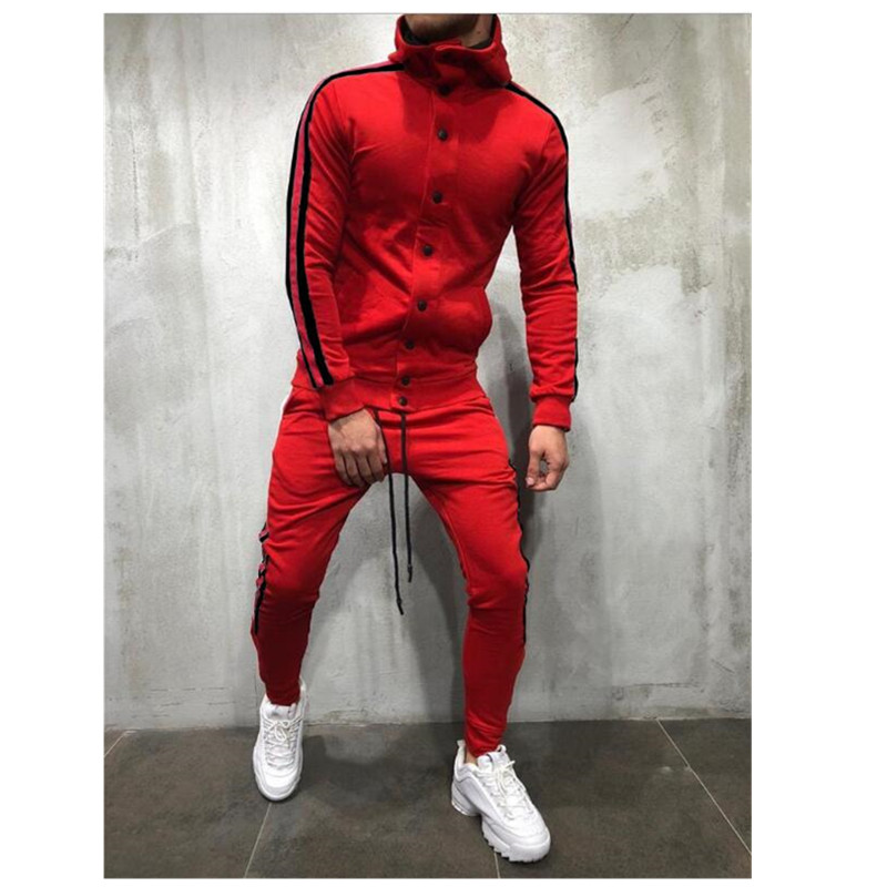 ButtonTracksuit Men Set Sport 2 Pieces Sweatsuit Mens Clothes Printed Hooded Hoodies Jacket & Pants Track Suit Men