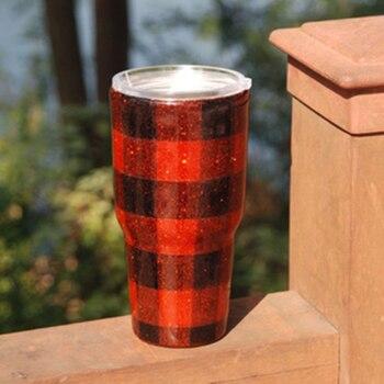 2020 new RTS 100% epoxy handmade red&black buffalo plaid tumblers , leopard tumbler , pink tumbler tumbler DOM1172 фото