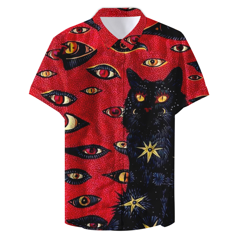 2019 Summer Man Designers Funny Cat Eyes Printed Casual Shirt