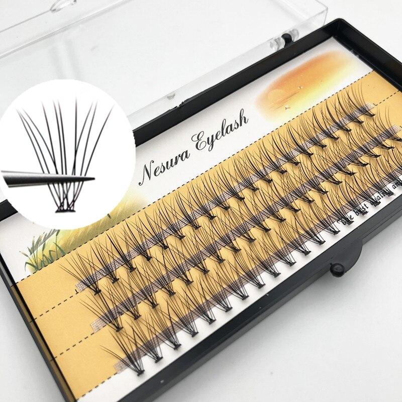 60 cílios de dança não-tóxicos, cílios enxertados, cabelo de vison natural, cílios grossos, ferramentas de maquiagem de extensão de cílios postiços