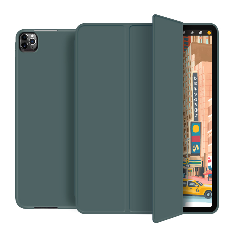 Dark green Silver For New iPad pro 12 9 inch 2020 Smart case Tri fold soft bracket cover for