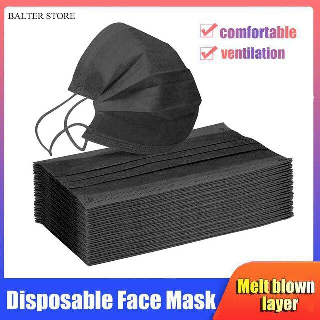 10/50/100/500pcs Disposable Face Mask Nonwoven 3 Layers Anti Dust Smog Civil Breathable Gauze Mask Adult Black Face Mouth Masks