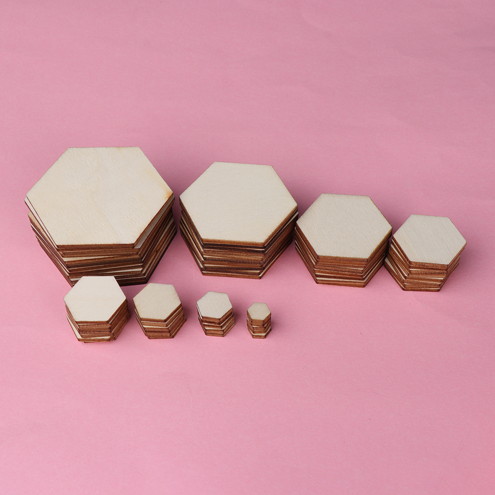 50/100pcs Wood DIY Laser Cut Embellishment Craft New Hexagonal Shape Decor Ornaments Wedding
