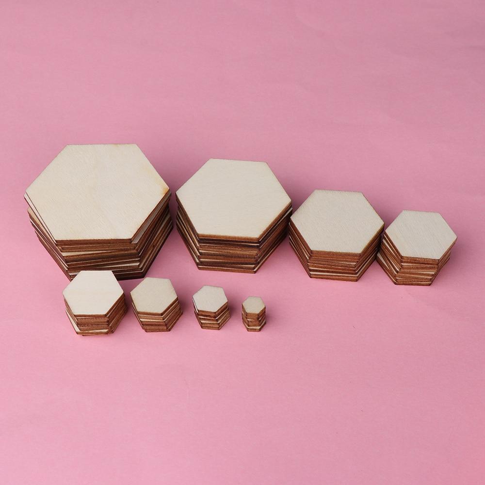 50/100pcs Wood DIY Laser Cut Embellishment Craft New Hexagonal Shape Decor Ornaments Wedding