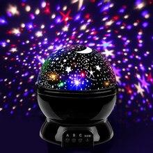 Dekoracja sypialni lampki nocne obracanie gwiaździste niebo magiczny projektor lampka nocna z USB LED lampka nocna Lampe Starlight dla dzieci prezent