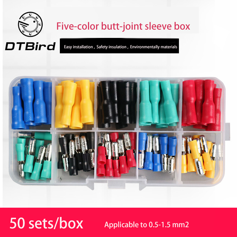 50 Pairs Butt Joint Terminal Wire Connector Male Female Plug-In 5 Color Bullet Head Set Fast And Safety Environmentally