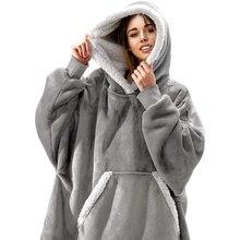 Women Oversized Hoodie Sweatshirt Winter Fleece Giant TV Blanket With Sleeves Hoodies Sweatshirts Women Clothes Moletom Feminino