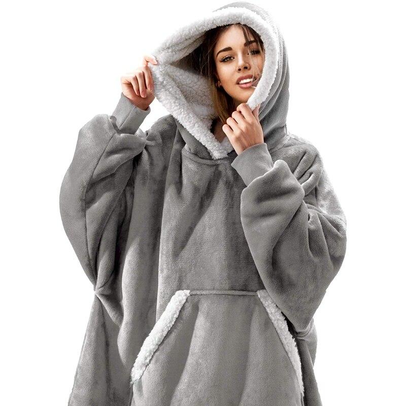 Permalink to Women Oversized Hoodie Sweatshirt Winter Fleece Giant Wearable Blanket With Sleeves Hoodies Sweat Women Clothes Moletom Feminino