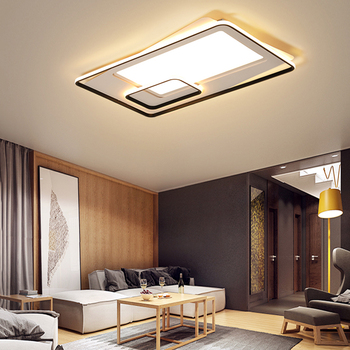 Modern Dimmable Led Ceiling Light with Remote Control Black Acrylic Round Flush Mount Lamp for Bathroom Kitchen Bedroom